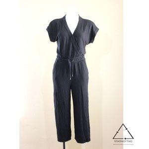 Splendid V Neck Cropped Jumpsuit Playsuit Jersey